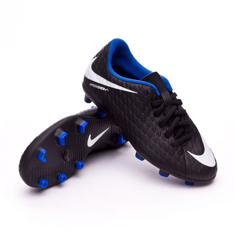 Bota Nike Hypervenom Phade III FG Niño Black-White-Game royal