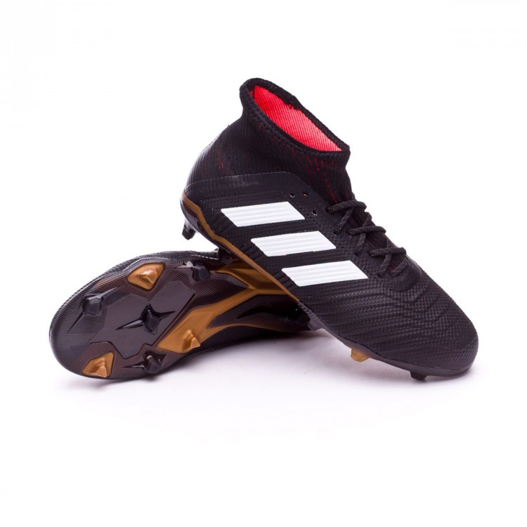 Bota adidas Predator 18.1 FG Niño Core black-White-Gold metallic-Solar red