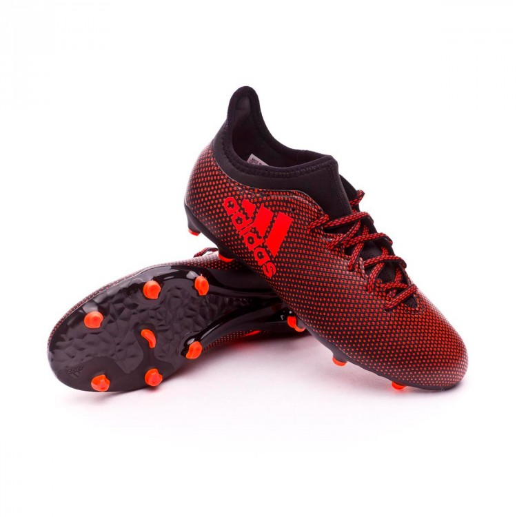 Bota adidas x 17.3 FG Niño Core black-Solar red-Solar orange