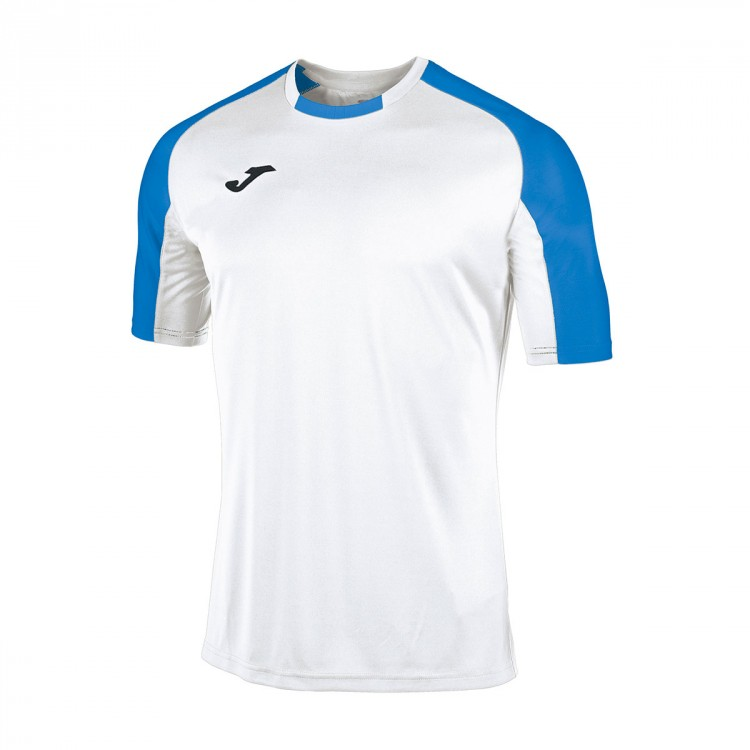 Camiseta Joma Essential m/c Blanco-Azul royal