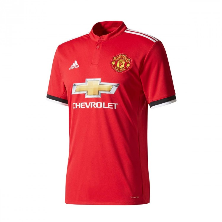 Camiseta adidas Manchester United FC Primera Equipación 2017-2018 Real red-White-Black