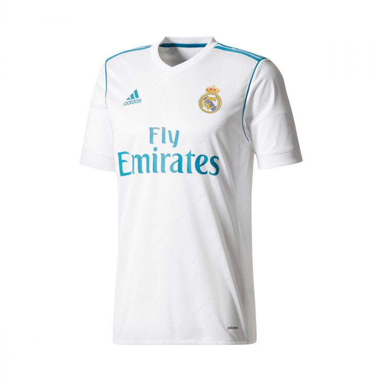 Camiseta adidas Real Madrid Primera Equipación Authentic 2017-2018 White-Vivid teal