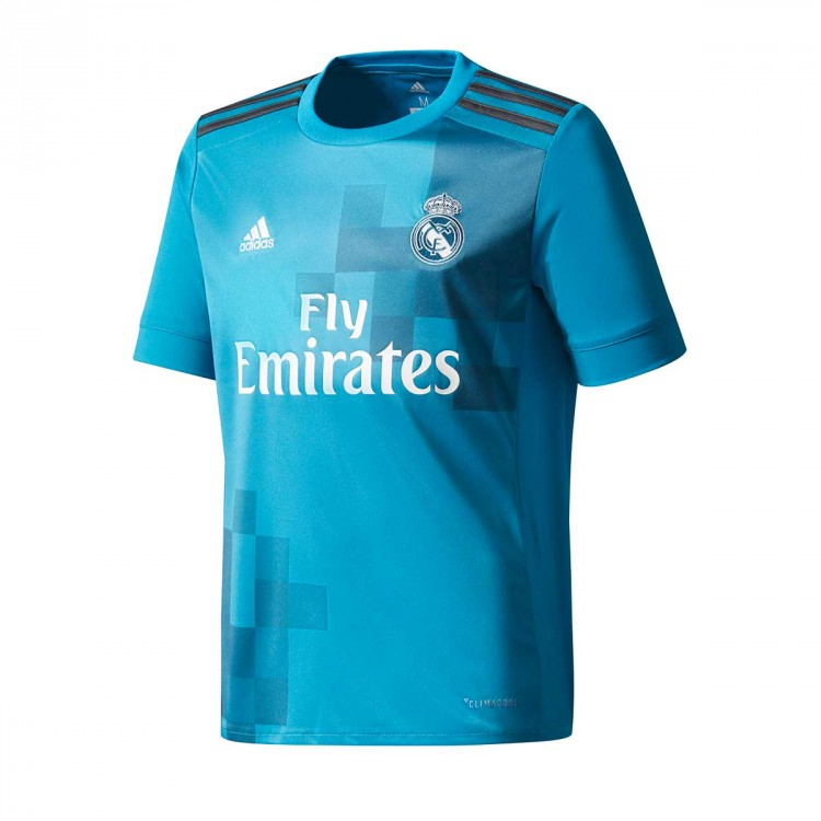 Camiseta adidas Real Madrid Tercera Equipación 2017-2018 Vivid teal-Solid grey-White