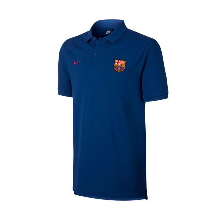 Polo Nike FC Barcelona NSW Crew 2017-2018 Deep royal blue-Noble red