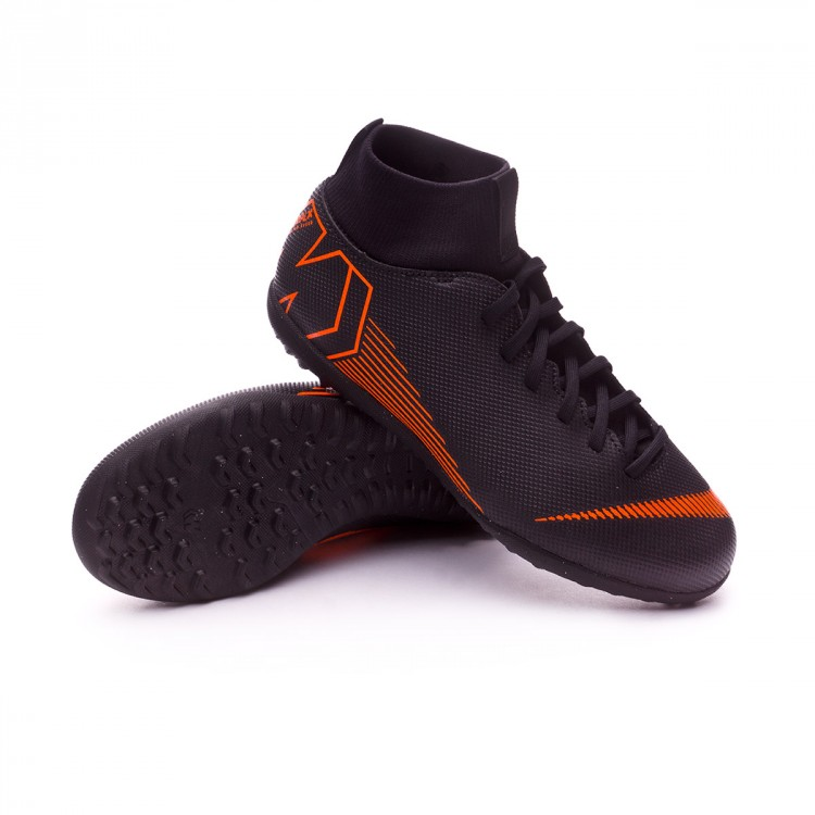 Zapatilla Nike Mercurial SuperflyX VI Club Turf Niño Black-Total orange-White