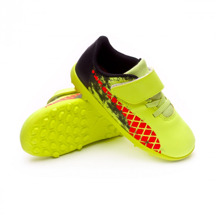 Zapatilla Puma Future 18.4 Turf Velcro Bebe Fizzy Yellow-Red Blast-Puma Black