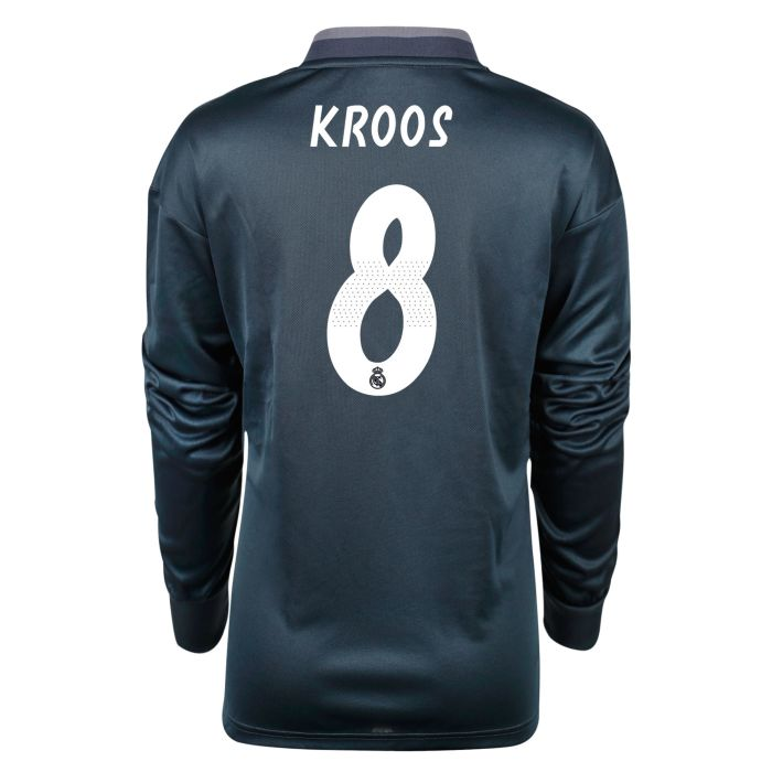 Camiseta segunda Real Madrid Manga Larga LaLiga Kroos Junior Gris 2018/2019