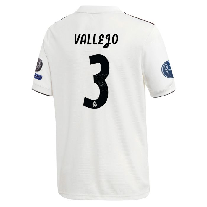 Camiseta primera Real Madrid Junior UCL Vallejo Blanco 2018/2019