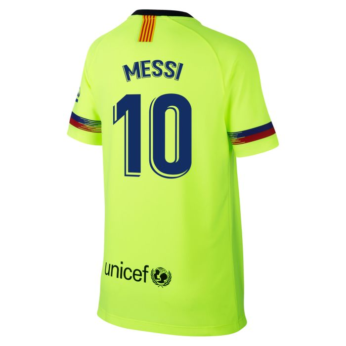 Camiseta segunda FC Barcelona Breathe Messi Junior Amarillo Fluor 2018/2019