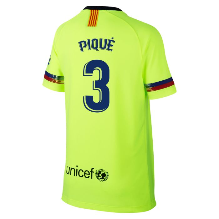 Camiseta segunda FC Barcelona Breathe Piqué Junior Amarillo Fluor 2018/2019