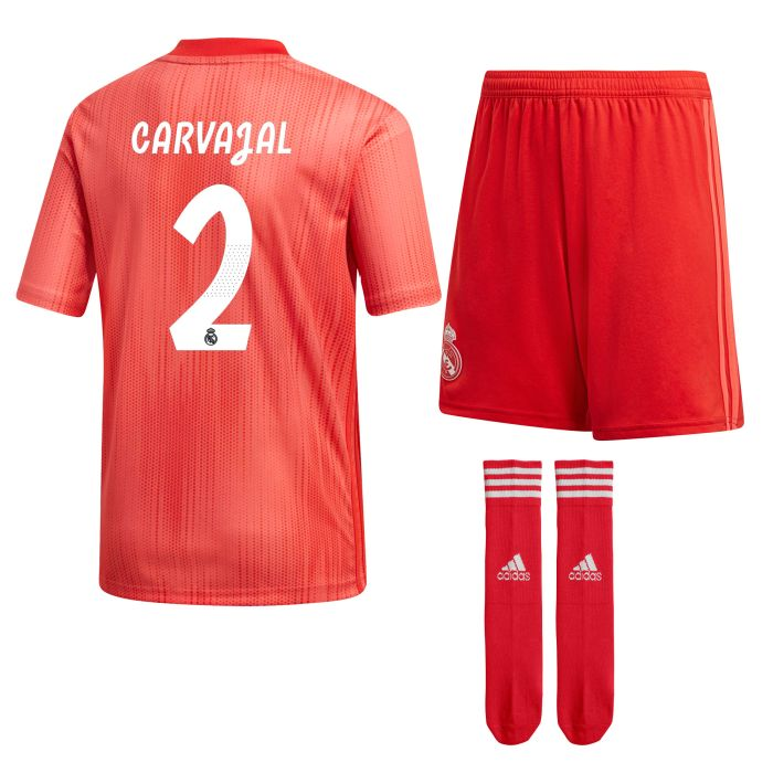 Conjunto tercera Real Madrid Junior Carvajal Coral 2018/2019